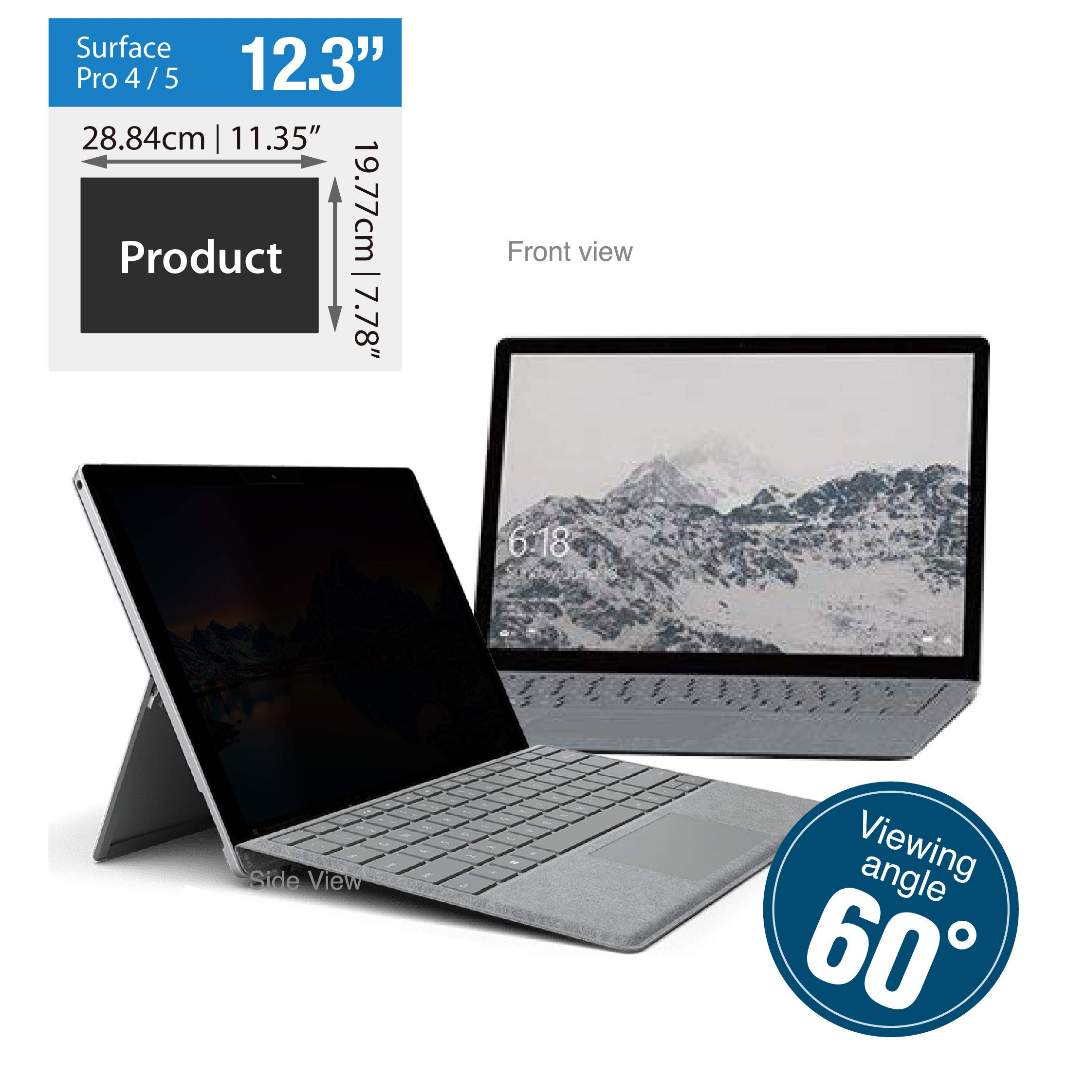 KAEMPFER Anti-Blue Light Privacy Screen Protectors Filter for Microsoft Surface Pro 4/5 (11.35''x7.78''/288.4x197.7mm) by KAEMPFER (Image #2)