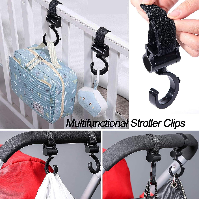 Stroller Pegs Clips Purse Stroller Organizer Stroller Hanging Hooks for Diaper Bags Stroller Hooks Clips 8 Pcs Buggy Clips Stroller Hook Set for Mommy