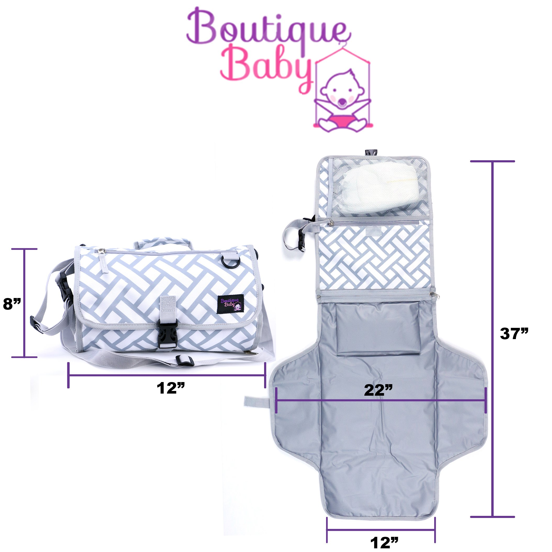Baby Changing Pad By Boutique Baby Portable Diaper Changing Pad Station Waterproof Extra Long  Travel Clutch by Boutique Baby (Image #5)