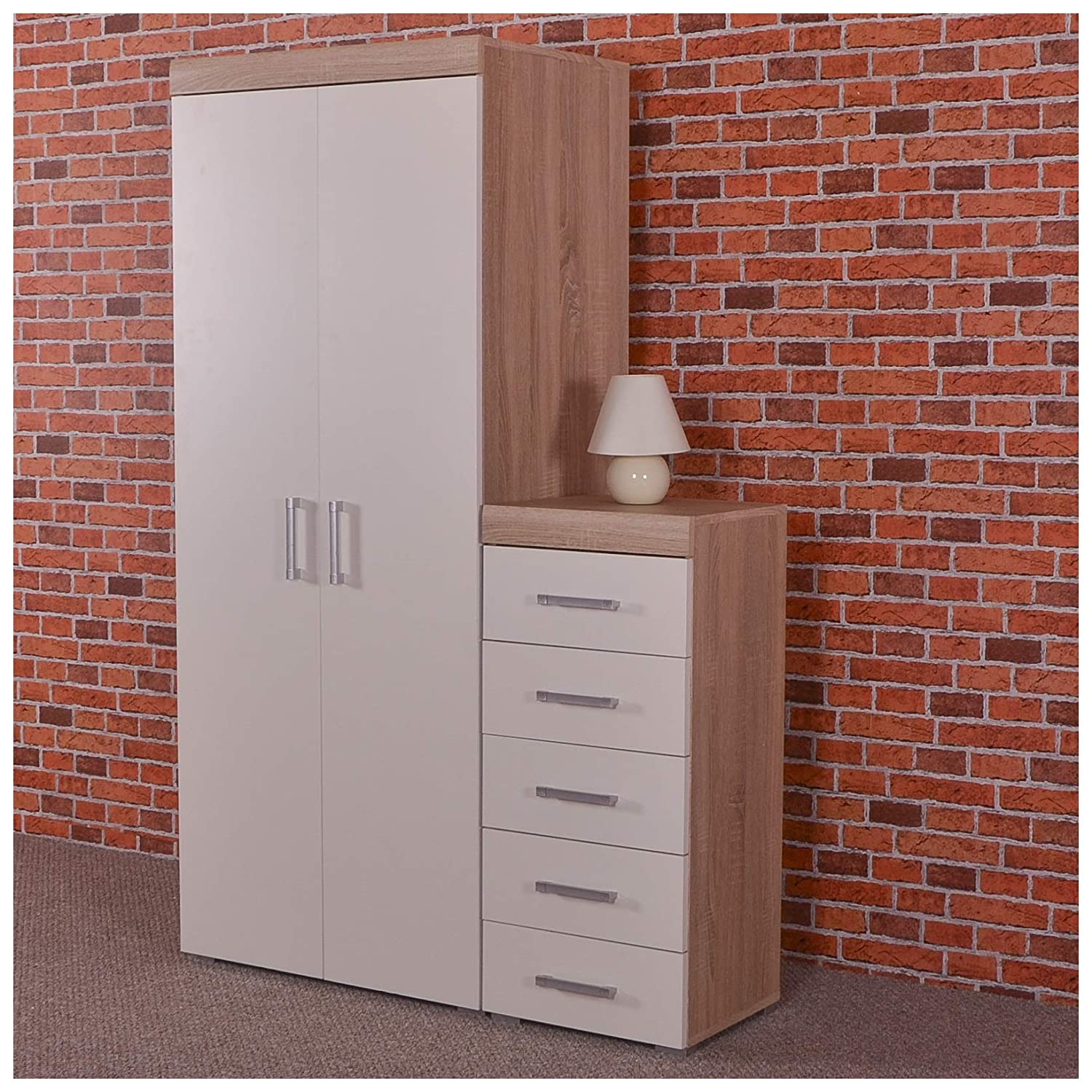 DRP Trading 2 Door Wardrobe & 5 Drawer Tall Boy Chest in White & Sonoma Oak Bedroom Furniture Set