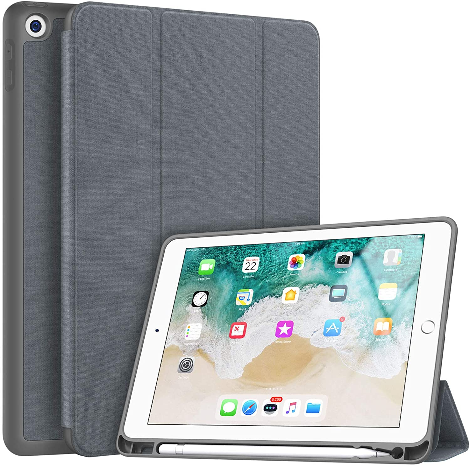 Soke iPad 9.7 2018/2017 Case with Pencil Holder, Slim Fit Smart Case, Trifold Stand Shockproof Soft TPU Back Cover, Auto Sleep/Wake Function for iPad 9.7 inch 5th/6th Generation,Grey