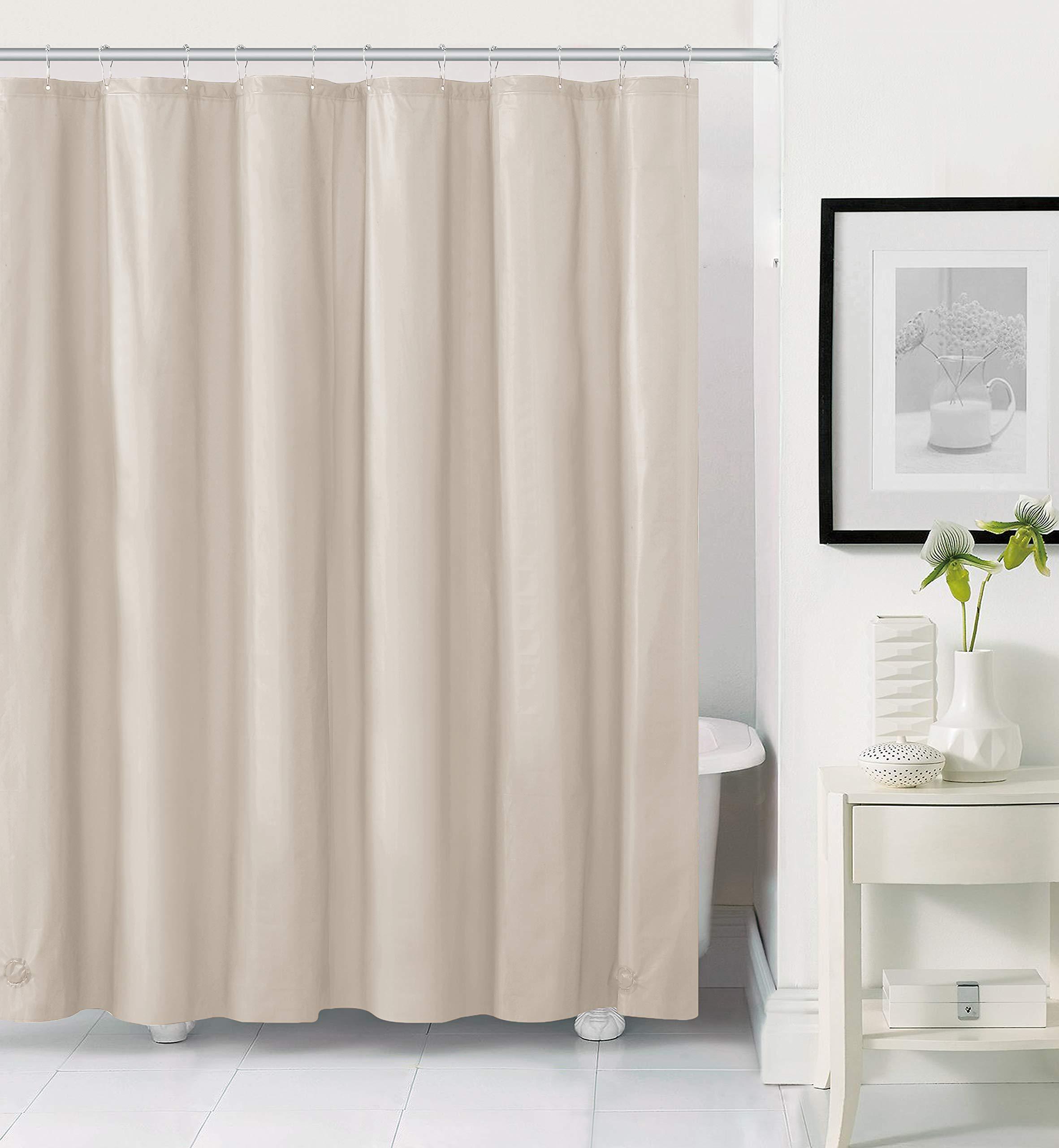 GoodGram Hotel Premium PEVA Shower Curtain Liner with Rust Proof Metal Grommets - Assorted Colors (Ivory/Beige)