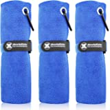 """Handy Picks Microfiber Golf Towel (16"""" X 16"""") with Carabiner Clip, Hook and Loop Fastener - The Convenient Golf Cleaning Towel Pack"""