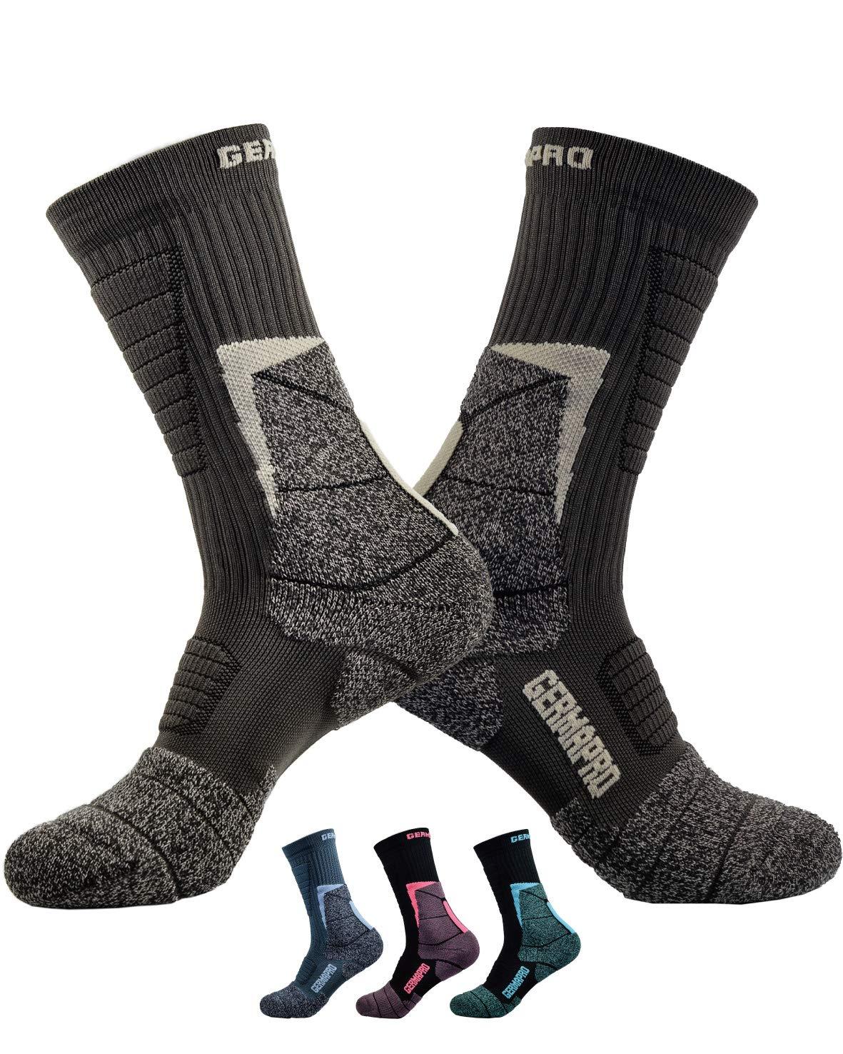 Mens Hiking Socks Outdoor Boot Work Socks w/Anti-Odor-Blister Moisture Wicking Germanium & Coolmax All Season 2 pairs by GermaPro