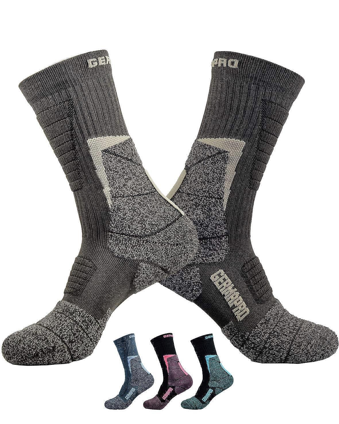 Men's Hiking Socks Outdoor Work Boot Socks w/Anti-Odor-Blister Moisture Wicking Germanium & Coolmax All Season 2 pairs