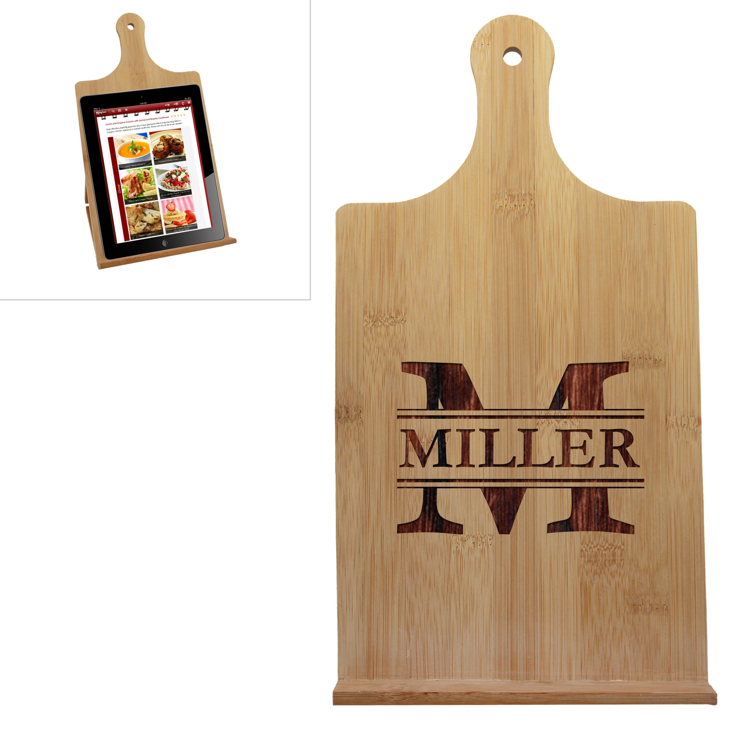 Custom Engraved Wood Tablet Book Stand - Personalized Wooden Easel Holder (Vertical - 7.25'' x 13.25'')
