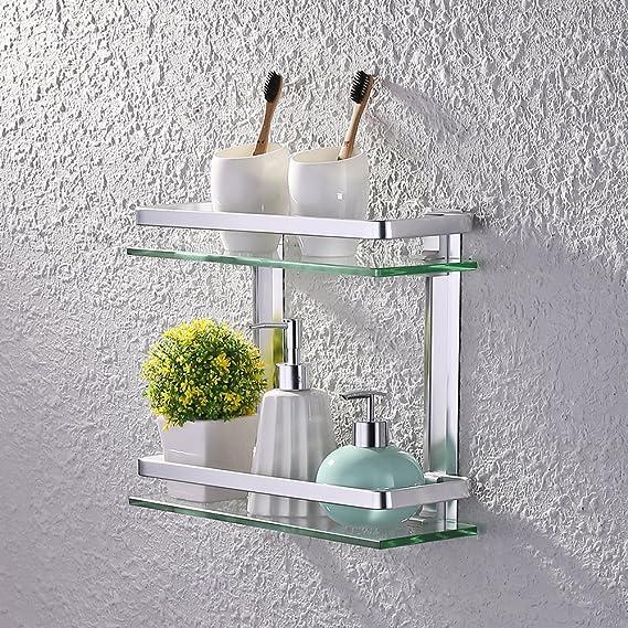 KES baño estante de cristal con rail aluminio y extra vidrio templado ducha estantería Rectangular soporte de pared de estilo contemporáneo: Amazon.es: ...