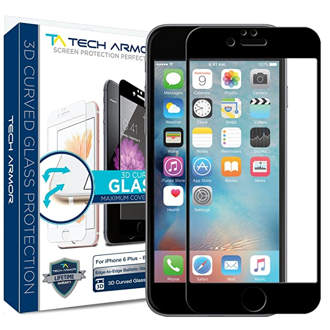save off 0e468 717c0 iPhone 6 Plus Screen Protector, Tech Armor 3D Curved Edge Glass Apple  iPhone 6S / iPhone 6 Plus (5.5-inch) Screen Protector (Blk) [1-Pack]