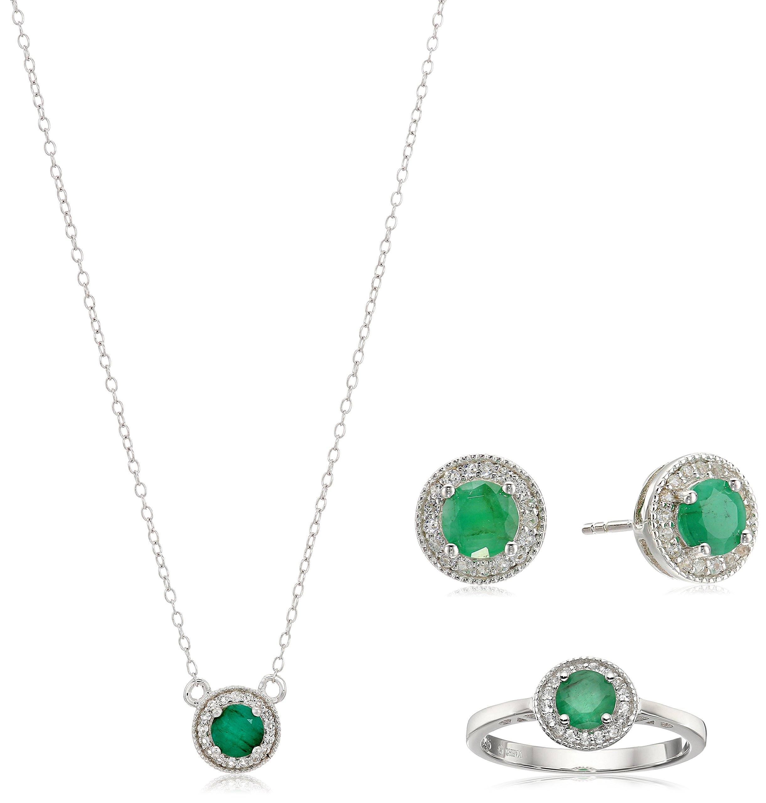 Sterling Silver Round Emerald and White Topaz Halo Jewelry Set