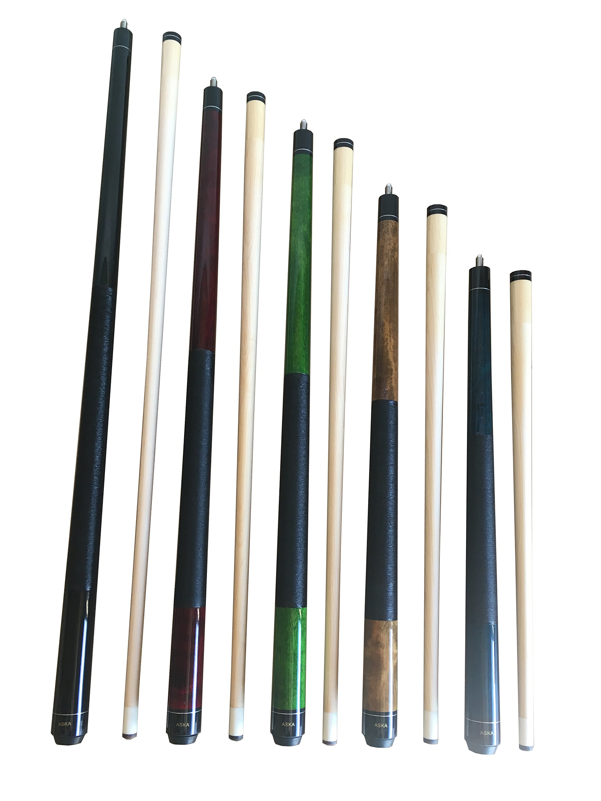 Set of 5 Aska Mixed Length Cues LS5, Canadian Hard Rock Maple Billiard Pool Cue Sticks, Short, Kids Cues