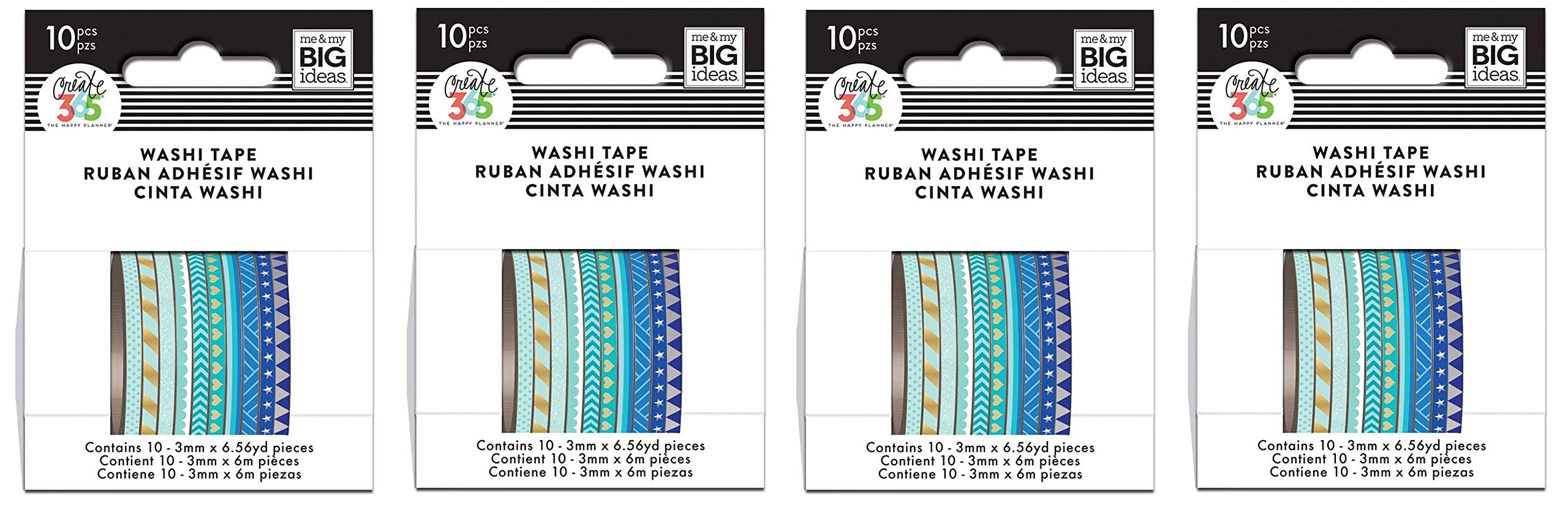 me & my BIG ideas WTSS-02 The Happy Planner Mini Washi Tape Blue Hues (Fоur Paсk)