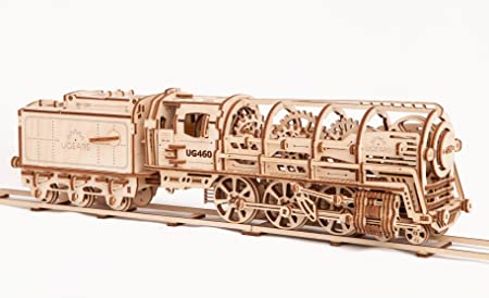 UGears Steam Train Locomotive with Tender | Wooden Train Puzzles for Kids | 3D Mechanical Puzzle | STEM Learning DIY Kits for Adults | Educational Wooden Puzzles | Wooden Toys for Kids Educational Kit