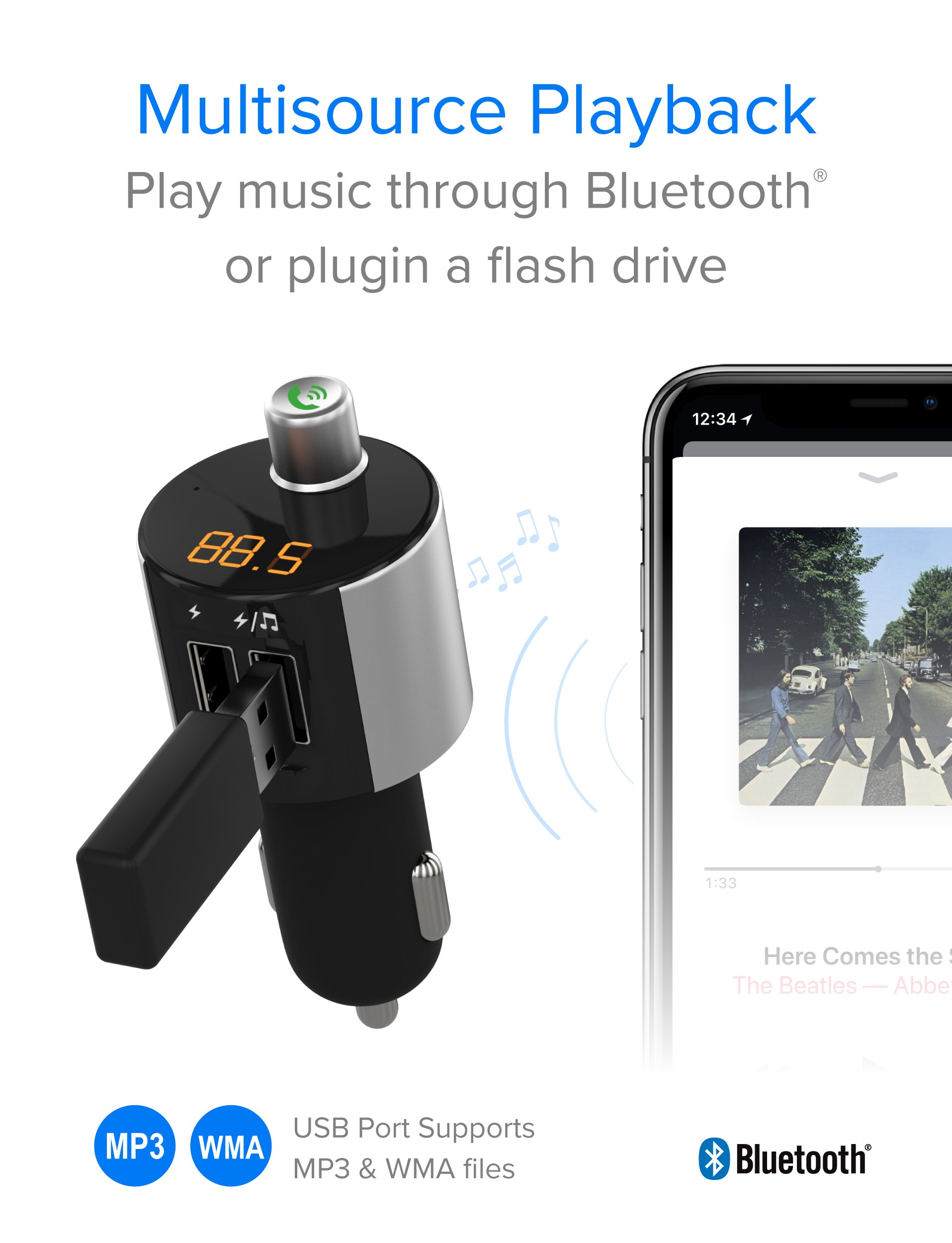 Just Wireless Bluetooth FM Transmitter, Wireless Bluetooth FM Radio Transmitter with Hands-Free Calling and 2 USB Ports by Just Wireless (Image #4)