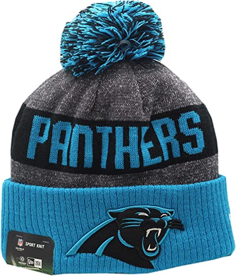 8579a4d3716b46 Amazon.com : Carolina Panthers 2016 Sport Pom Knit Hat On-Field Logo Block  12276 : Clothing