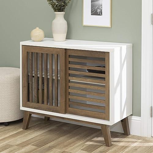 WE Furniture AZ36SSDSW TV Stand, 36 , White Rustic Oak