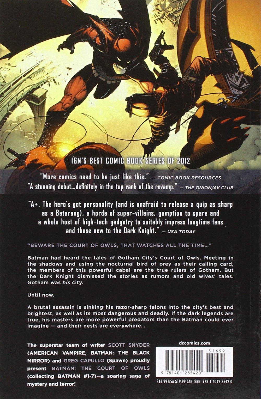 Amazon.com: Batman Vol. 1: The Court of Owls (The New 52) (Batman (DC  Comics Paperback)) (8601420585607): Scott Snyder, Greg Capullo: Books