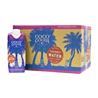 CocoGoodsCo Single-Origin Natural Coconut Water with Fresh Passion Fruit Juice 16.9...