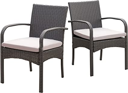 Amazon Com Christopher Knight Home Cordoba Outdoor Wicker Dining Chairs With Cushions 2 Pcs Set Grey Garden Outdoor