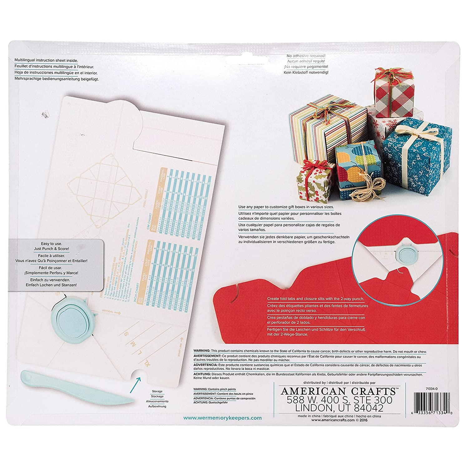 Amazon.com: Gift Box Punch Board By We R Memory Keepers | Includes Punch  Board And Detachable Scoring Tool