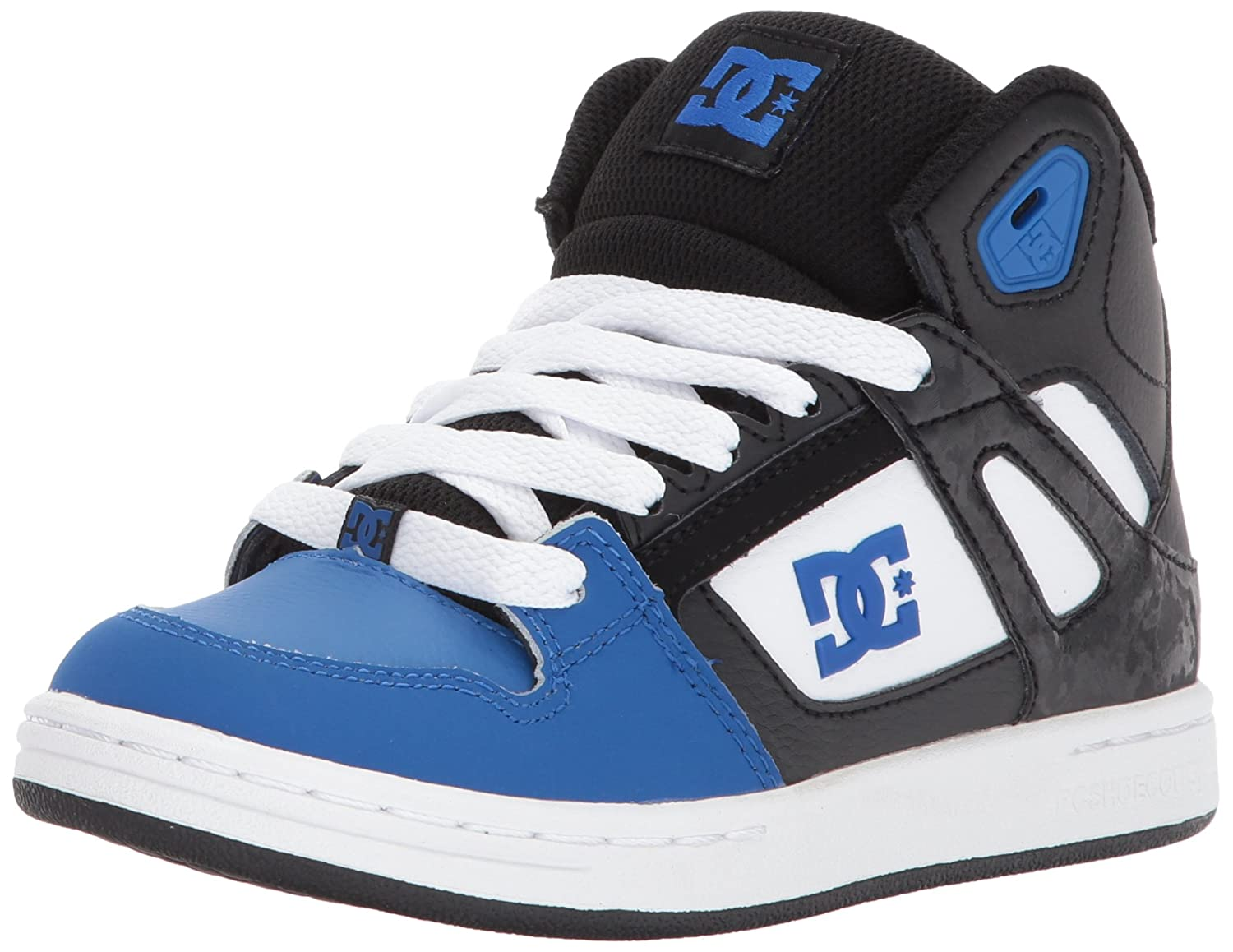 DC Boy's Rebound Leather, Rubber High Top Sneakers B071CDW5TV 5.5 M US Big Kid|Black/Blue/White