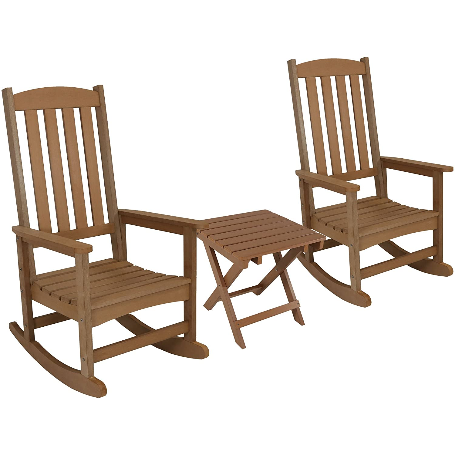 Amazon com sunnydaze all weather rocking chair set of 2 with folding side table faux wood design brown garden outdoor