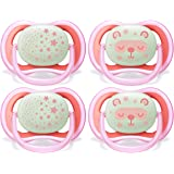 Philips AVENT Ultra Air Nighttime 6-18 Months Pacifier, SCF376/44, Pink, (Pack of 4)