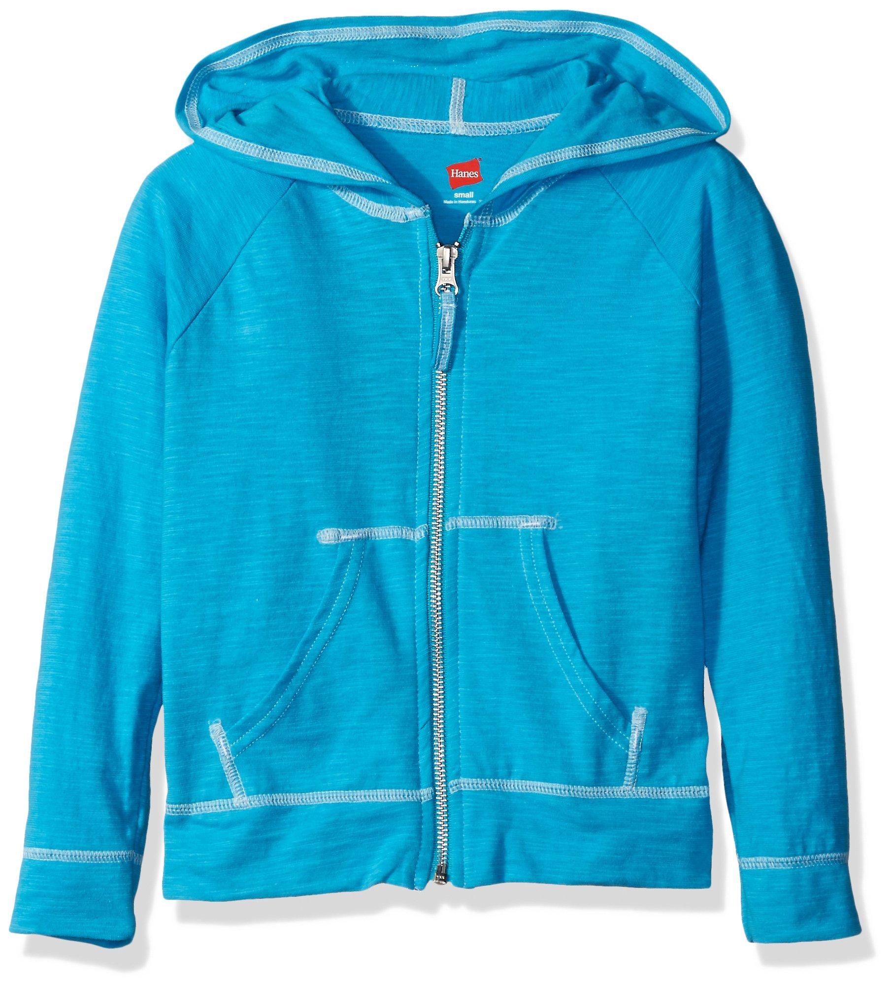 Hanes Little Girls' Slub Jersey Full Zip Jacket, Process Blue, Large