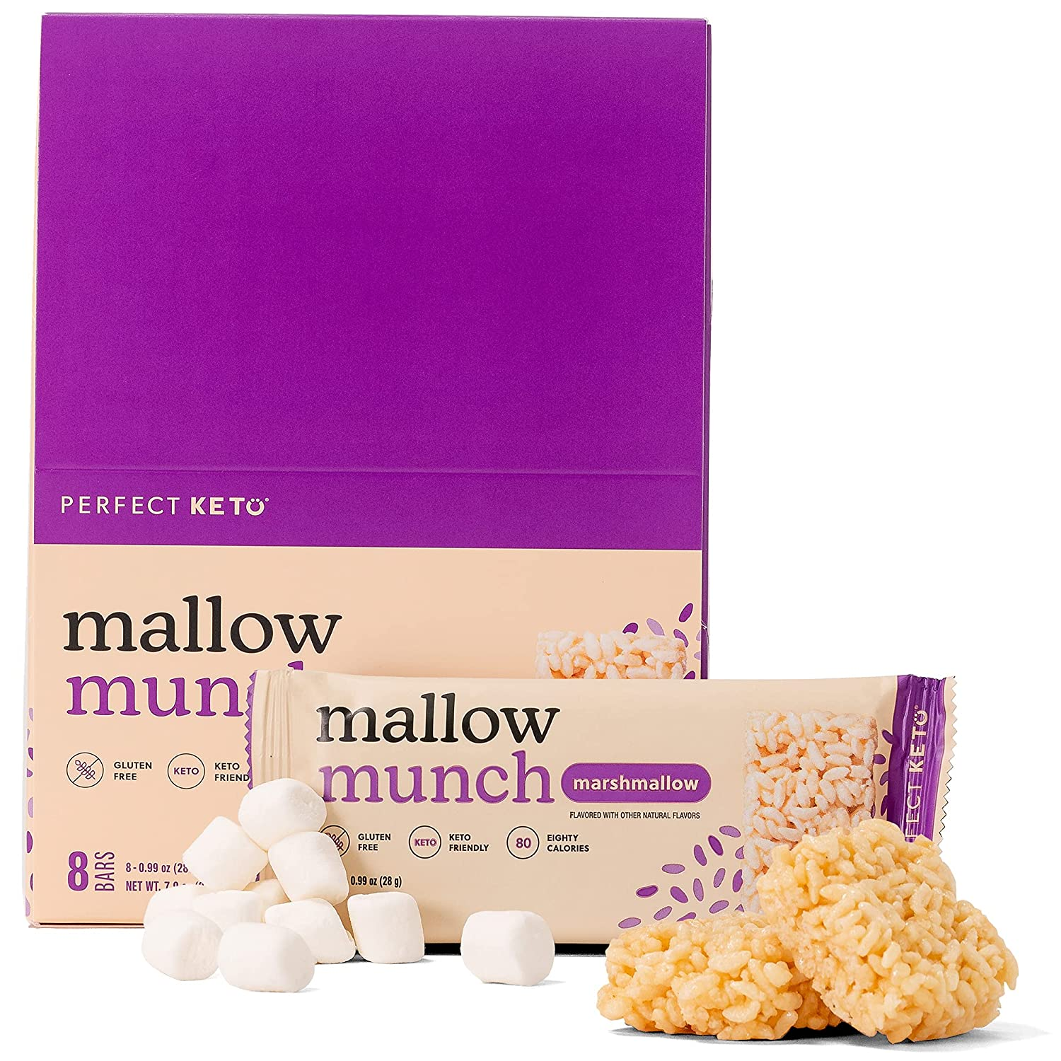 Perfect Keto Mallow Munch | Gluten-Free Keto Breakfast Cereal Bars with Zero Added Sugar | Enjoy the Chewy Treat You Love and Stay Committed to Ketosis | 8 Pack