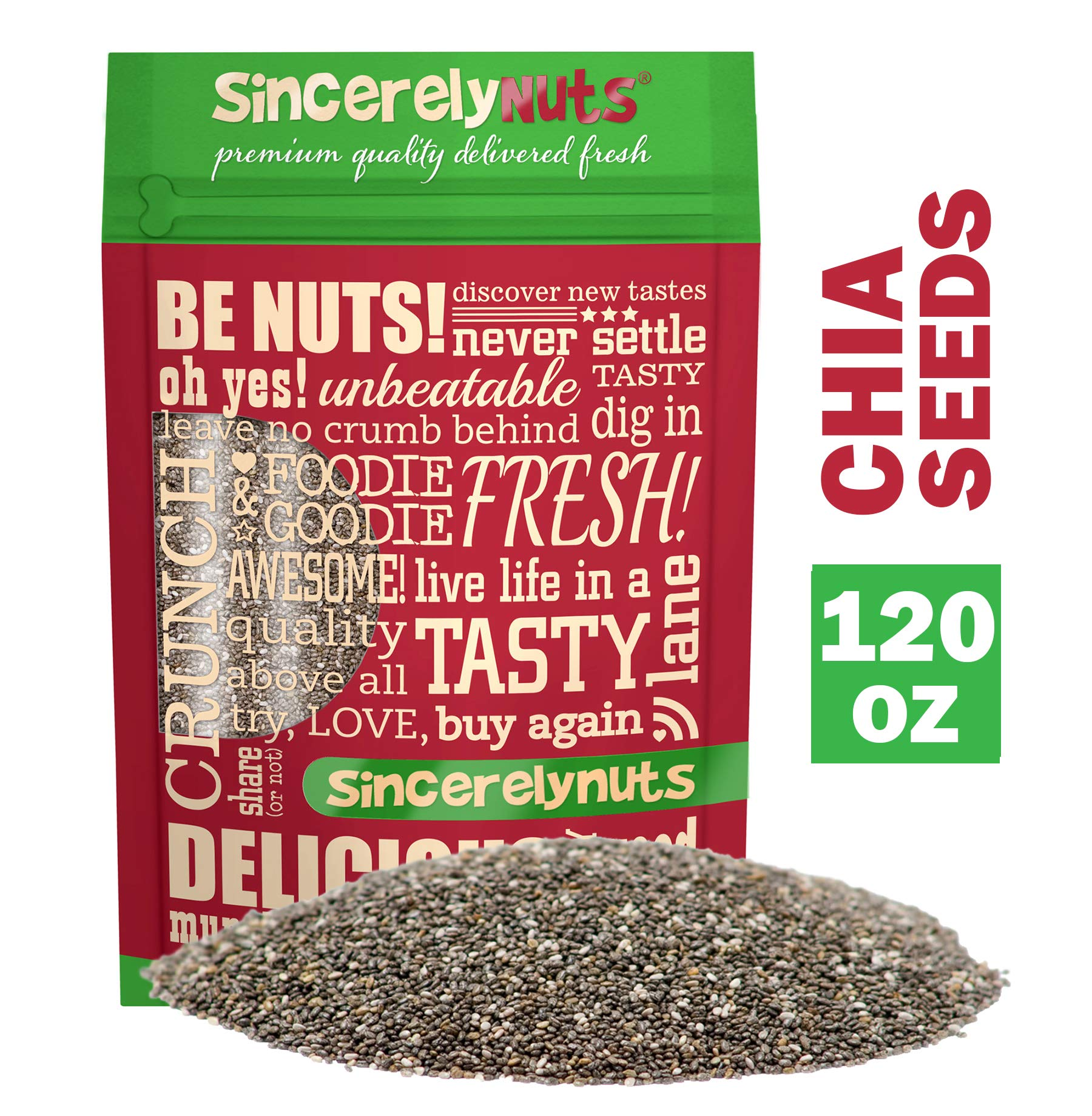 Sincerely Nuts Black Chia Seeds (7.5 lb bag) - Natural Superfood | Raw, Gluten Free, Vegan & Kosher | Healthy Snack Food & Smoothie Thickener | Amazing Source of Protein, Omega 3, Fiber, Vitamins by Sincerely Nuts