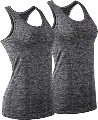 iloveSIA 2Packs Women's Sports Running Fitness Quick Dry Sports Tanktop, Yoga Tank Top with Removable Pad