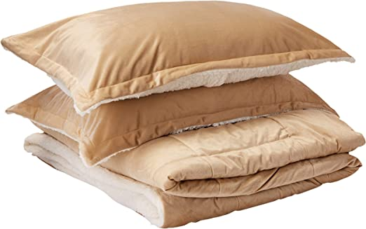 Basics Micromink Sherpa Comforter Set Fray-Resistant Ultra-Soft Twin Taupe