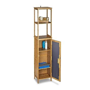 Relaxdays Armoire de salle de bain étagère rangement avec porte 2 ...