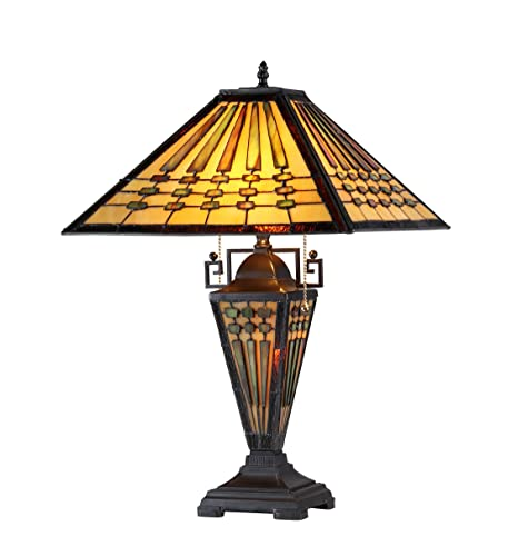 Chloe Lighting CH33215MG16-DT3 Chadrick Tiffany-Style Mission 3-Light Double Lit Table Lamp, 16