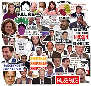 Pauplian 50PCS The Office Graffiti Stickers Waterproof Office Vinyl Stickers American Drama Stickers for Laptops, Computers, Hydro Flasks (Office Stickers)