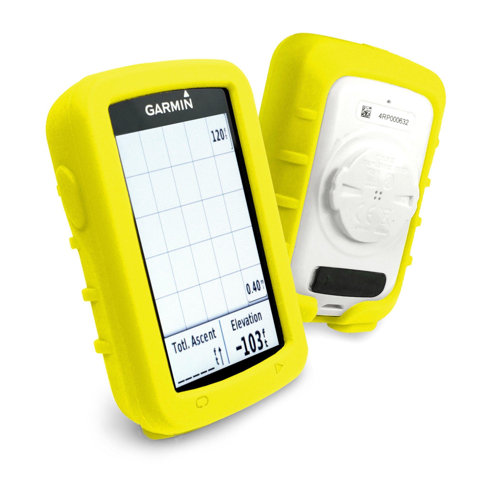 Tuff-luv Silicone Gel Skin Case and Screen Cover for Garmin Edge Explore 820 - Yellow