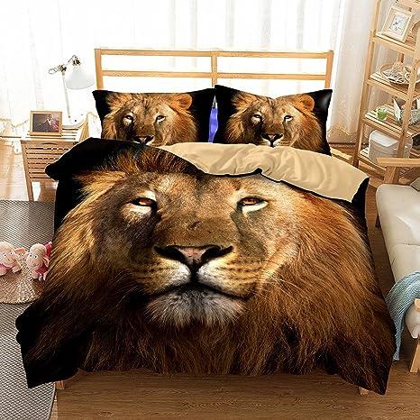 Helengili 3D Digital Printing Bedding Set Lion Leo Bedding Bedclothes Duvet Cover Sets Bedlinen 100 Percent Microfiber Present California King