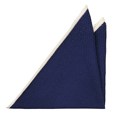Handkerchief - Navy blue & off-white herringbones with blue edges Notch 2w5r0Rr2