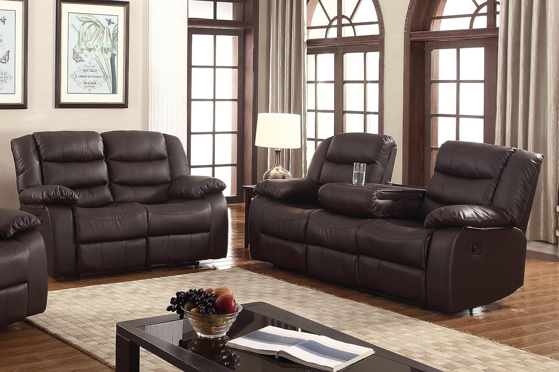 Amazon Com U S Livings Polyurethane Leather Reclining Sofa Set
