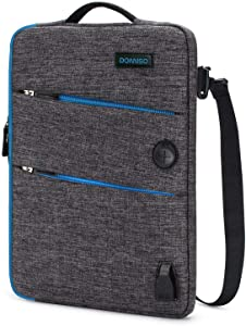 DOMISO 13.3 Inch Waterproof Laptop Sleeve Canvas with USB Charging Port Headphone Hole Compatible with 13-13.3 Inch Laptops/Tablets/Dell Inspiron 13 XPS 13 / Acer/Lenovo/HP, Blue Zipper