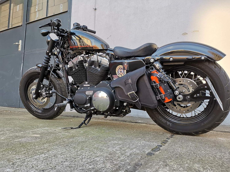 Orletanos EOS Negro Funda Lateral Compatible con Harley Davidson Sportster Cuero Negro Cuarenta y Ocho Hugger Hierro Lowrider XL HD Sostenedor de Botella Lado Equivocado