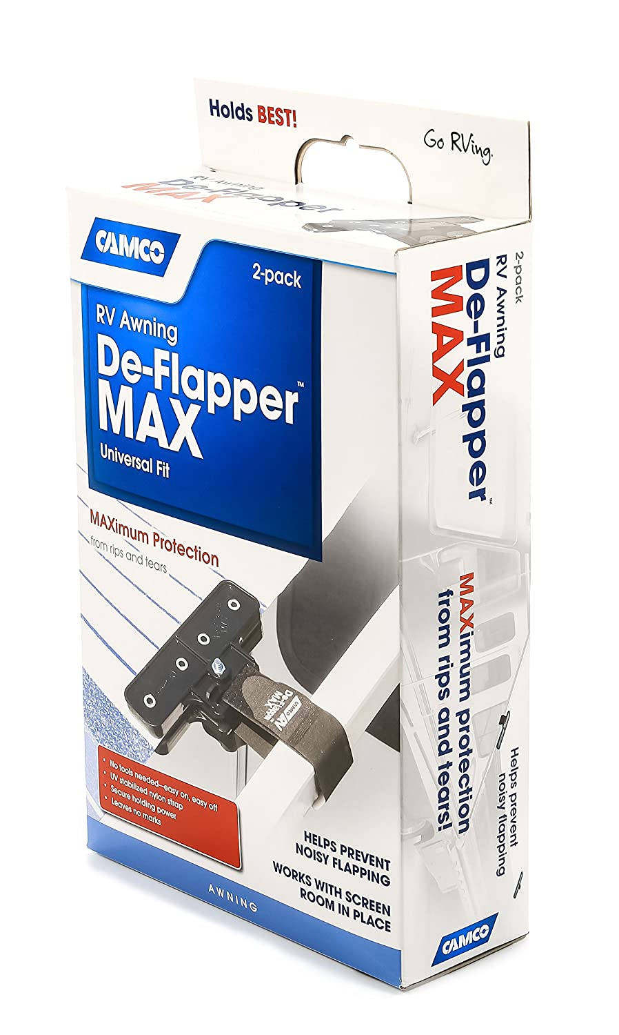 Protects Your RV Awning From Costly Rips and Tears 2 Pack Rust Resistant Camco Awning De-Flapper Max 42251