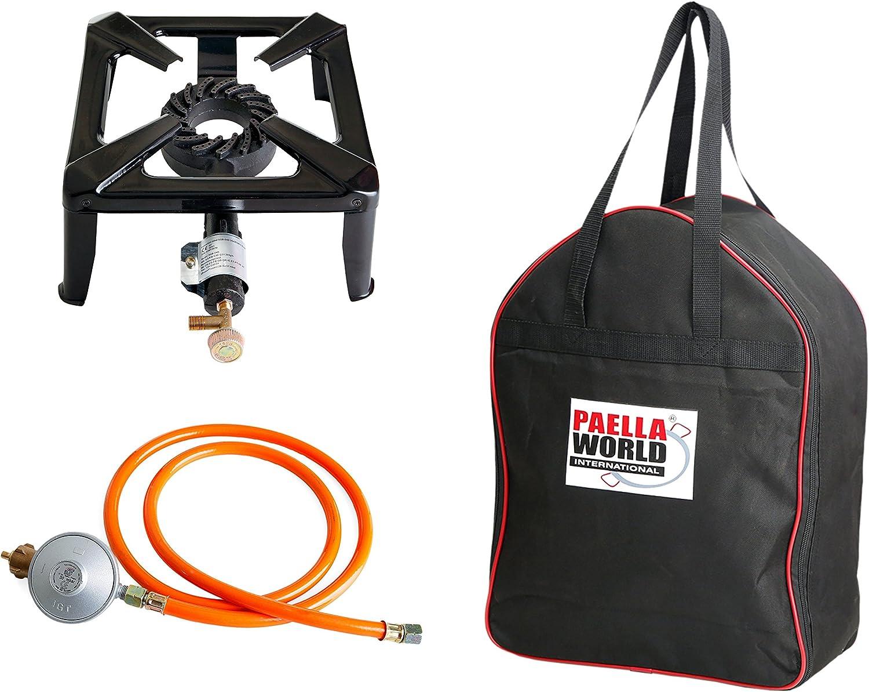 Paella World International - Hornillo con 8,5 kW de potencia, 40 x 40 x 17 cm, incluye bolsa y juego de conexión de gas de 50 mbar: Amazon.es: Jardín