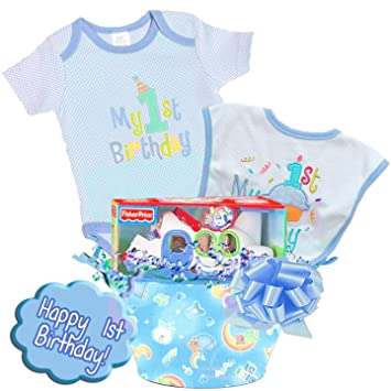 Little Wishes QuotHappy 1st Birthdayquot Deluxe Baby Boy Gift Basket Featuring Bodysuit