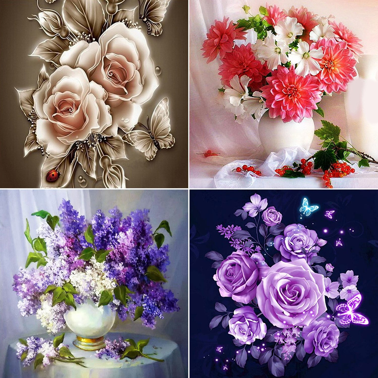 Aneco 4 Pack 5D Full Drill DIY Diamond Painting Kit Flowers Rhinestone Painting Embroidery for Art Craft DIY Home Decoration