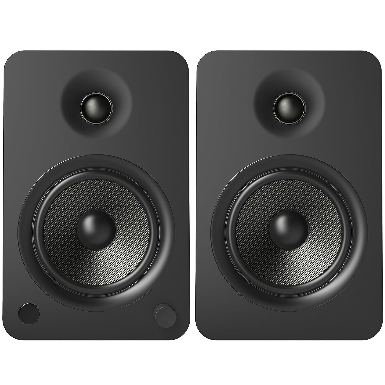 5.25 Kevlar Driver Matte Black 200W Peak Power Kanto YU6 Powered Bookshelf Speakers with Bluetooth/® and Phono Preamp