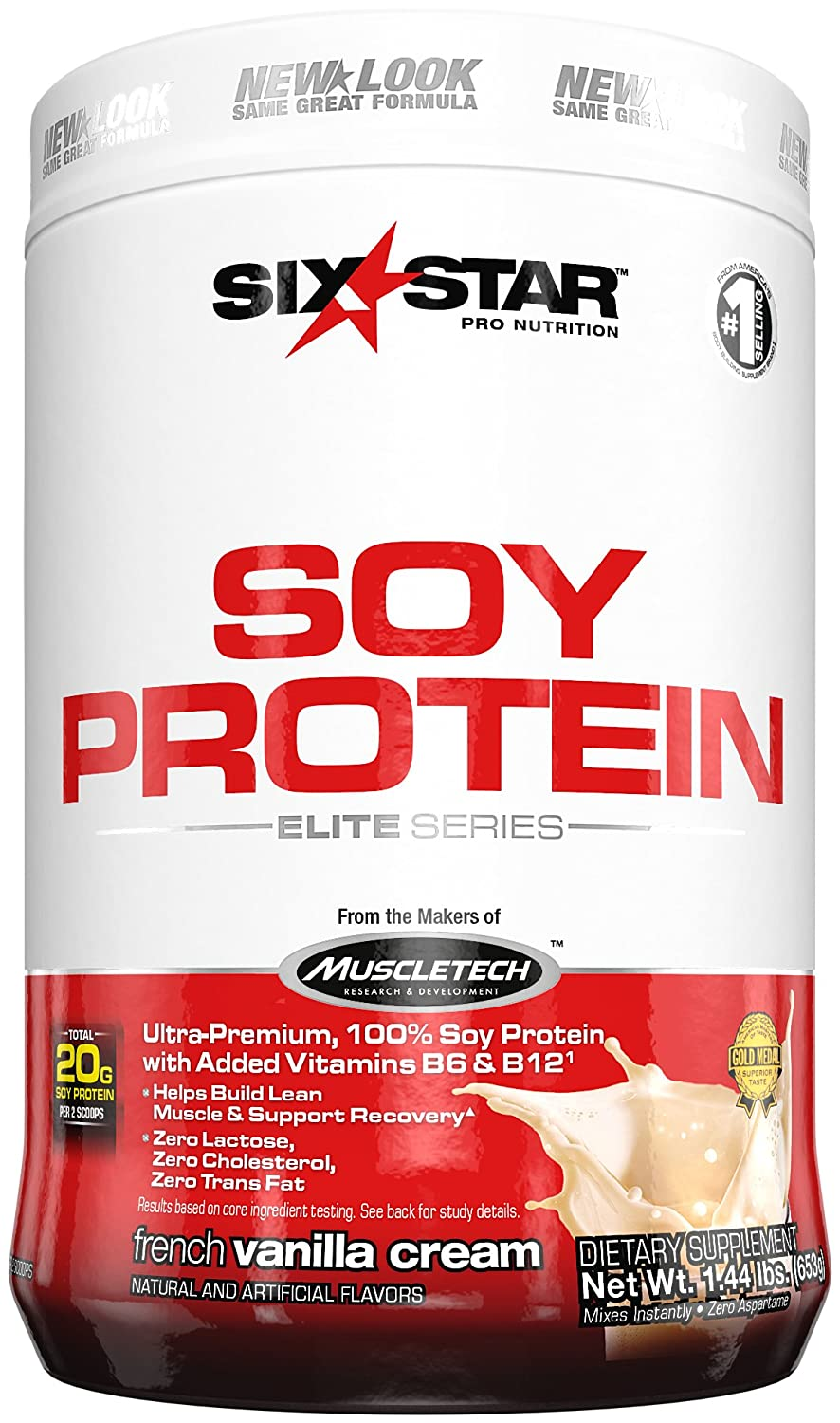 Six Star Pro Nutrition Soy Protein - Elite Series French Vanilla Cream 1.44 lbs  B00DTWKOFW