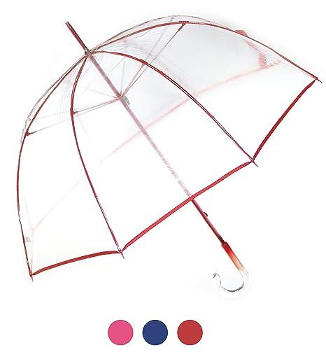 Paraguas transparente rojo de mujer, función antiviento. Paraguas grande, elegante, resistente y