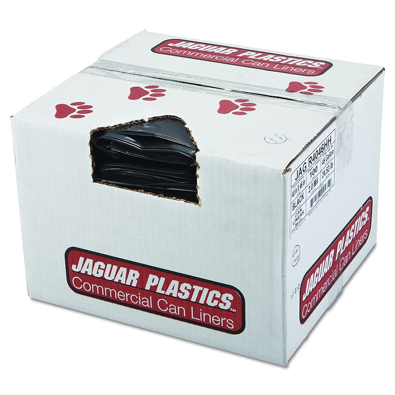 2 Mil Black 40 x 46 Case of 100 Jaguar Plastics R4046HH Repro Low-Density Can Liners