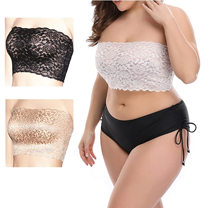 bff003924fd Women s Plus Size Floral Lace Unlined Stretchy Strapless Bandeau Tube Tops  See Through Bras(3SET