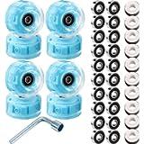 8 Piece LED Light up Roller Skate Wheels Luminous Skate Wheels with Skate Roller Bearings 32 x 58 mm